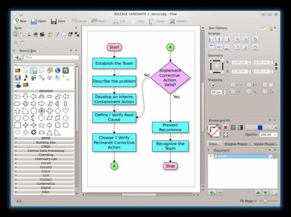 Calligra Flow - редактор